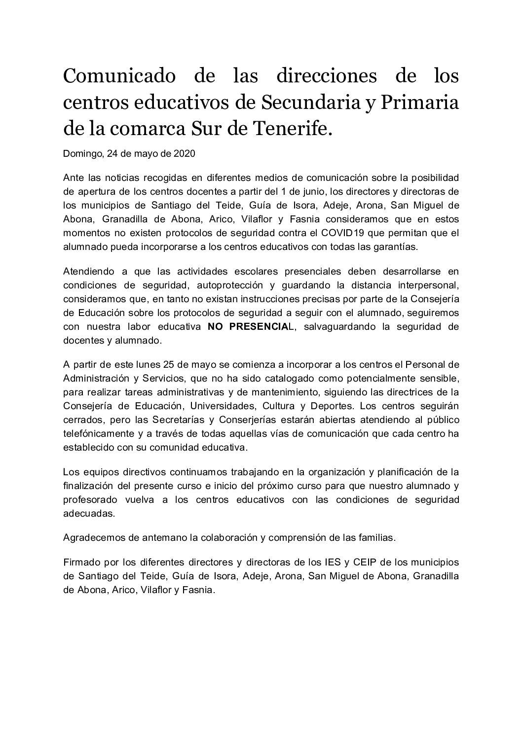 Comunicado de las direcciones de los centros educativos de Secundaria y Primaria de la comarca Sur de Tenerife.