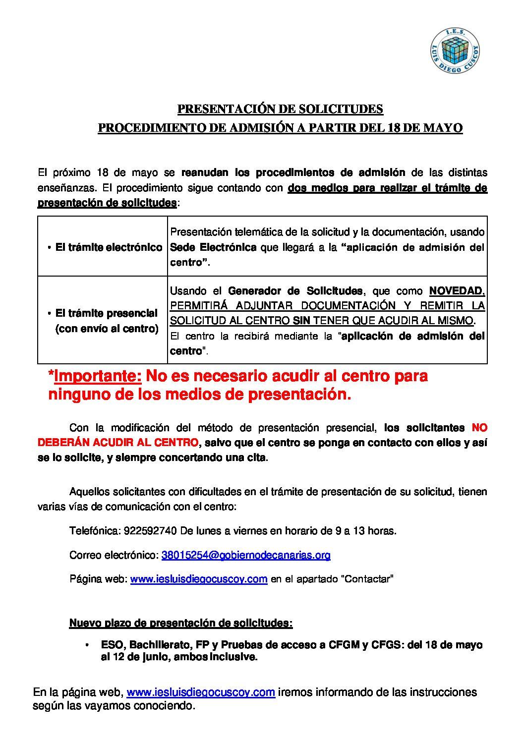 INSTRUCCIONES SOBRE LA PRESENTACIÓN DE SOLICITUDES PROCEDIMIENTO DE ADMISIÓN A PARTIR DEL 18 DE MAYO