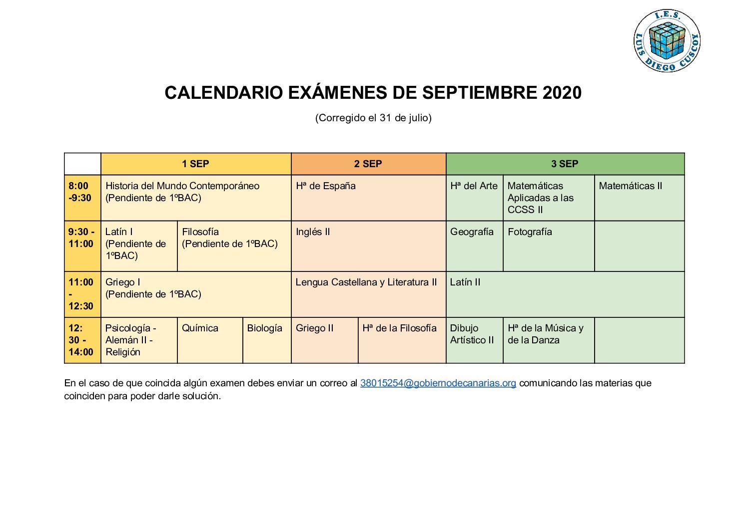 CALENDARIO DE EXÁMENES DE SEPTIEMBRE BACHILLERATO