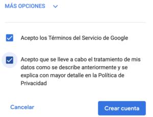 Crear cuenta Gmail. Aceptar política de privacidad