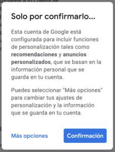 Crear cuenta Gmail. Confirmación